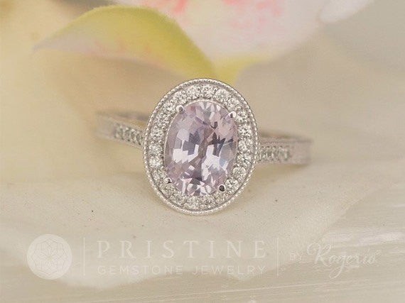 Vintage Engagement Ring Lavender Sapphire Engagement Ring Diamond Halo Wedding Ring