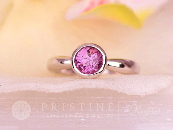 Purple Sapphire Ring Gold Bezel Solitaire September Birthstone Gemstone Jewelry