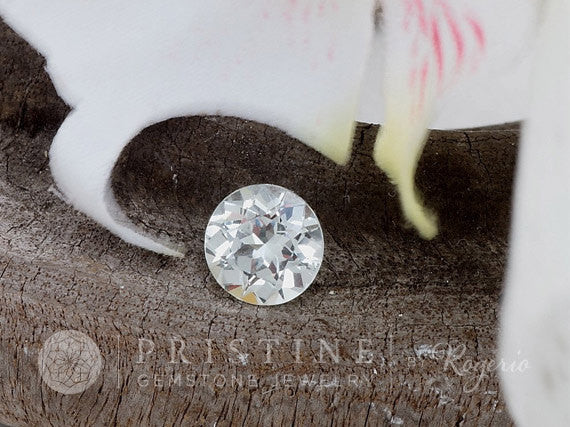 White Sapphire 7 MM Round for Custom Engagement Ring or Fine Jewelry September Birthstone by Rogerio Graca