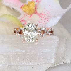 Mint green sapphire rose gold infinity ring bridal ring