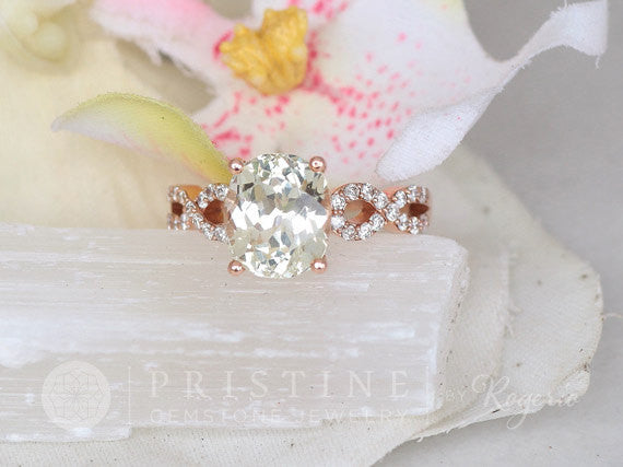Rose Gold Sapphire Vintage Engagement Ring Mint Green Sapphire Engagement Ring