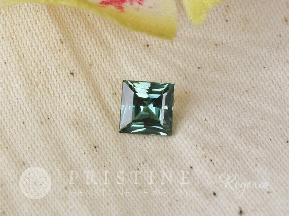 Natural Blue Green Sapphire Princess Cut for Custom Engagement Ring September Birthstone