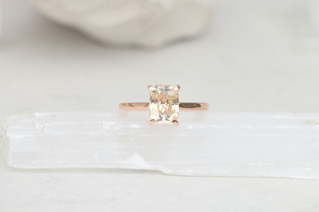 Peach champagne sapphire rose gold engagement ring 368ct radiant cut peach champagne sapphire rose gold engagement ring 368ct radiant cut sapphire solitaire bridal ring rose junglespirit Images