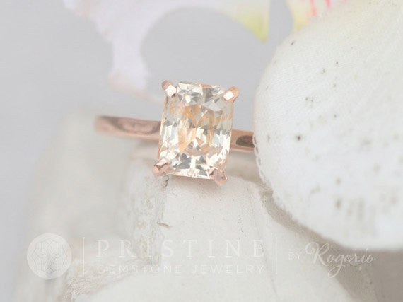 Peach Champagne Sapphire Rose Gold Engagement Ring 3.68ct Radiant Cut Sapphire Solitaire Bridal Ring Rose Gold Wedding Ring