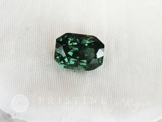 radiant cut blue green sapphire over 2 carats