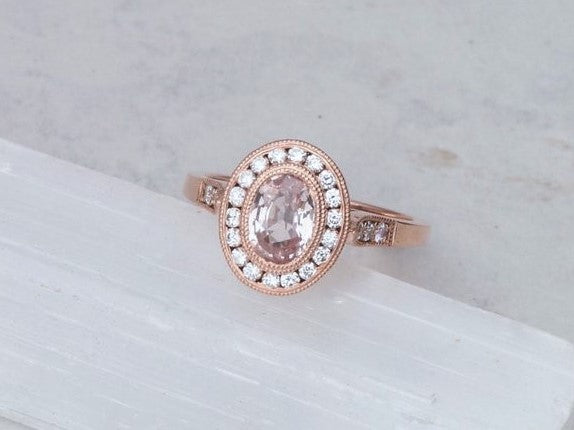 Peach Sapphire Rose Gold Vintage Style Engagement Ring in Diamond Halo