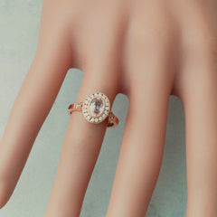 rose gold vintage style peach sapphire ring