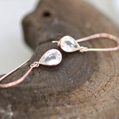 Teardrop White Sapphire Rose Gold Dangle Earrings