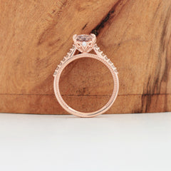 side view of ice pink sapphire rose gold engagement ring