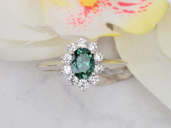 Blue Green Sapphire Diamond Cluster Engagement Ring Kate Middleton Style Ring