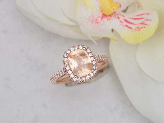 2.07ct Cushion Peach Sapphire Rose Gold Diamond Halo Engagement Ring