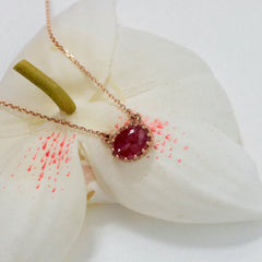 vintage design ruby necklace in rose gold