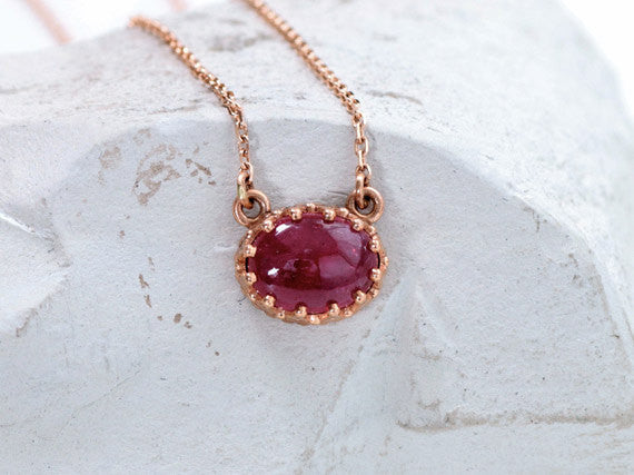 Vintage Rose Gold Ruby Necklace July Birthstone Necklace for Her
