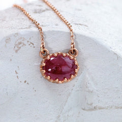 Rose Gold Vintage Ruby Necklace July Birthstone Necklace by Pristine Gemstone Jewelry