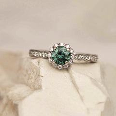 blue green sapphire wedding ring gemstone engagement ring