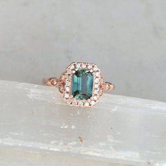 blue green sapphire vintage style engagement ring