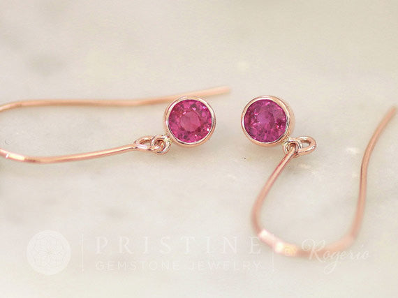 Natural Pink Sapphire Dangle Earrings in Rose Gold
