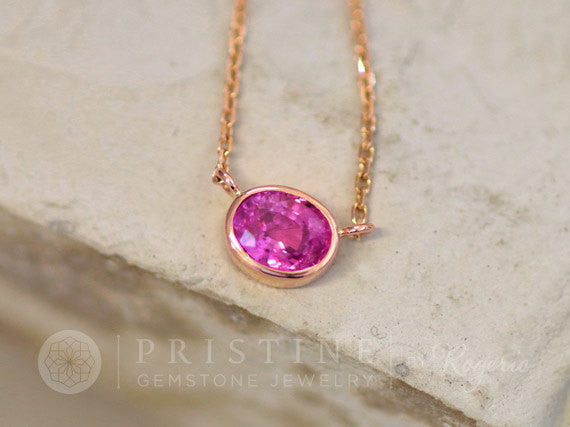 Pink Sapphire Rose Gold Layering Necklace Handmade Keepsake Gift for Her