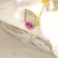 handmade pink sapphire necklace