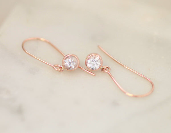 White Sapphire Rose Gold Dangle Earrings Handmade Gift for Her
