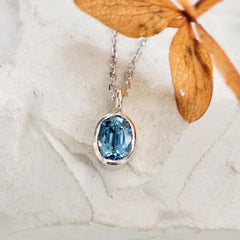 Montana Sapphire Gold Layering Necklace by Pristine Gemstone Jewelry