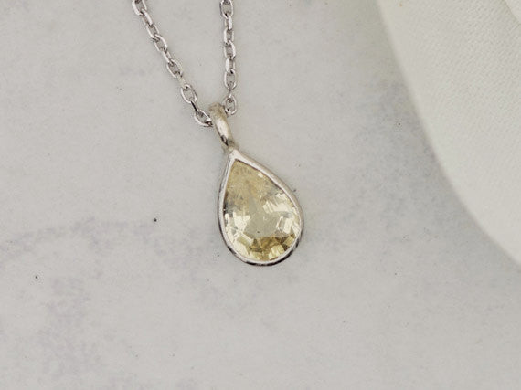 Pear Shape Yellow Sapphire Gold Layering Necklace September Birthstone