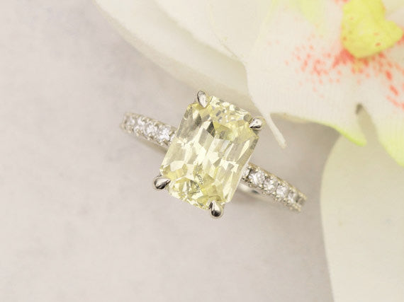 Radiant Cut Yellow Sapphire 3.87ct Diamond Accented Engagment Ring Yellow Diamond Alternative Wedding Ring