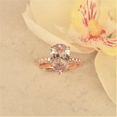 pear sapphire rose gold engagement ring