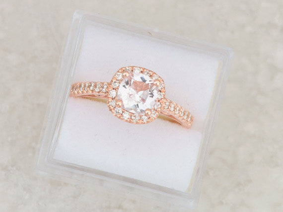 Cushion Peach Pink Champagne Sapphire Rose Gold Engagement Ring