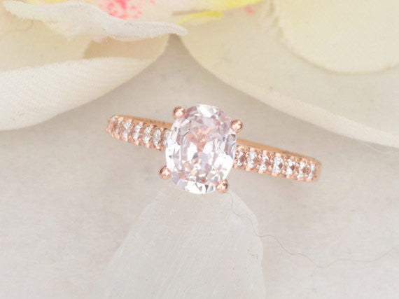 Blush Pink Sapphire Rose Gold Engagement Ring Blake Lively Engagement Ring