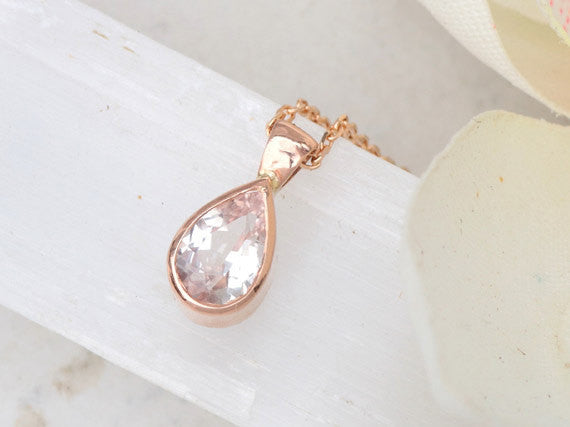 Pink Peach Sapphire Tear Drop Layering Necklace in 14k Rose Gold
