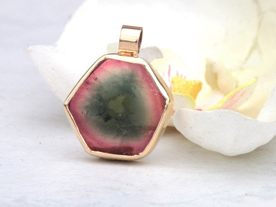 Watermelon Tourmaline Slice in a Handmade 14k Yellow Gold Bezel Pendant