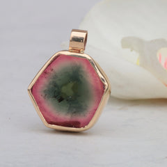 watermelon tourmaline slice pendant