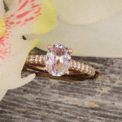 lavender peach sapphire rose gold ring