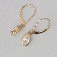 yellow gold white sapphire dangle earrings