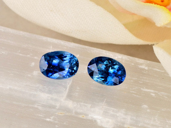 Ceylon Blue Sapphire Pair 1.74 Carats Total Weight