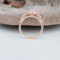 Pear Shape Peach Champagne Sapphire Precision Cut Rose Gold Engagement Ring