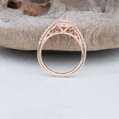 side view of rose gold engagement ring