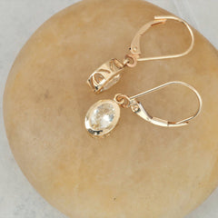 White Sapphire Dangle Earrings 14k Gold September Birthstone Gemstone Jewelry