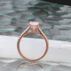 Peach Pink Sapphire Rose Gold Engagement Ring with 8 x 5.4mm Sapphire, Blake Lively Engagement Ring