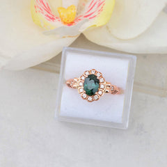 blue green sapphire rose gold art deco ring