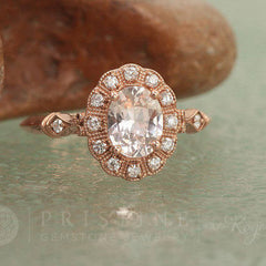 champagne sapphire rose gold ring