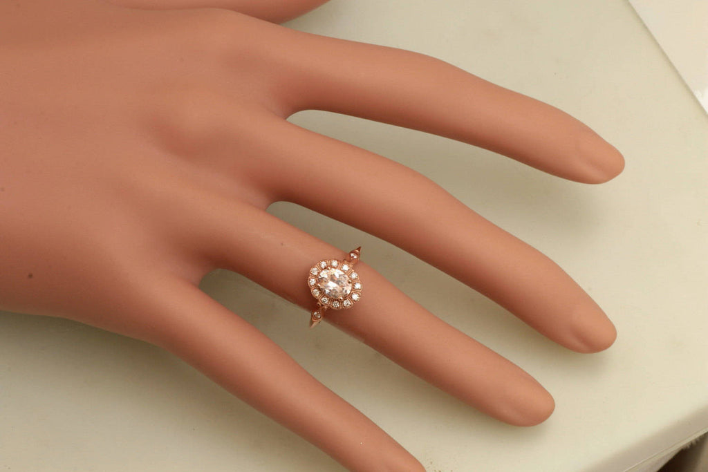 Champagne Sapphire 0 98ct Rose Gold Vintage Engagement Ring