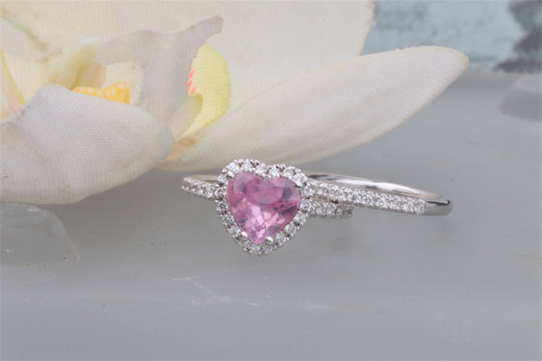 RESERVED Heart Shaped Pink Sapphire 14k Rose Gold Diamond Halo Ring