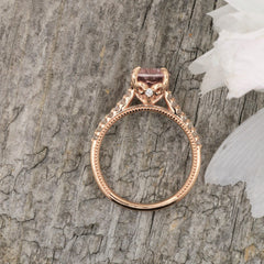 side view rose gold engagement ring
