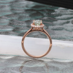 Green Tourmaline 14k Rose Gold Diamond Halo Gemstone Ring