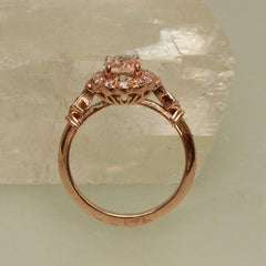 Champagne Sapphire 0.98ct Rose Gold Vintage Engagement Ring