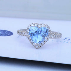heart shape diamond halo blue sapphire ring