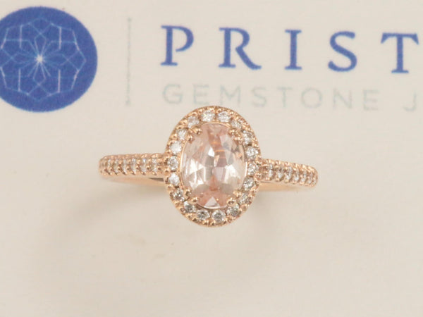 Peach Sapphire 0.90ct Rose Gold Diamond Halo Engagement Ring