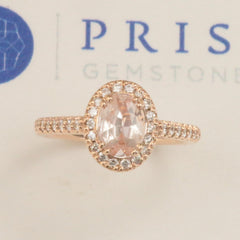 peach sapphire rose gold diamond halo
